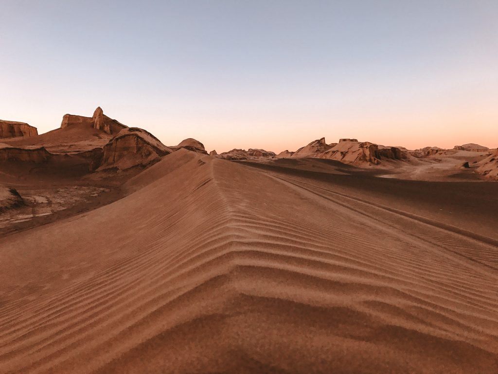 zandduinen in Lut woestijn, Iran